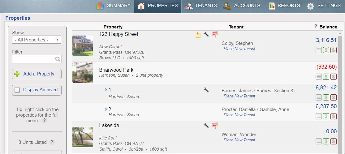 The Property Tab within Rentec Direct