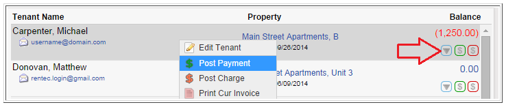 Tenants Tab Menu Option to Post a Payment