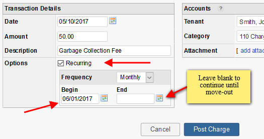 Setting the beginning and ending recurring transaction dates
