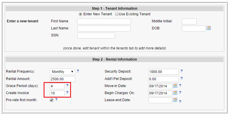 step one tenant information