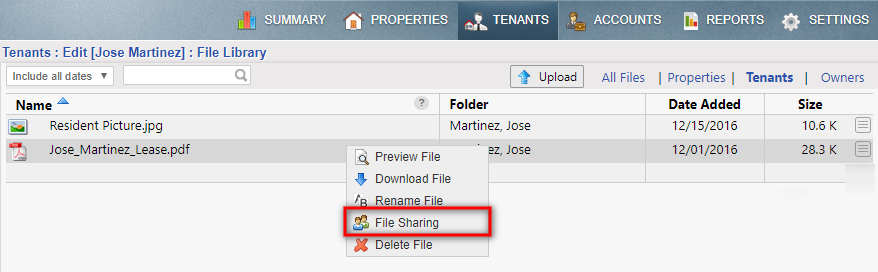 file sharing menu