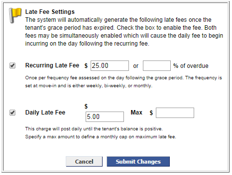 recurring late fee