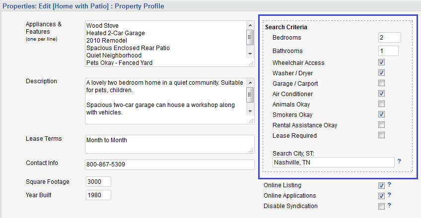 Rental Property Features Property Profile