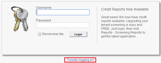 trouble logging in