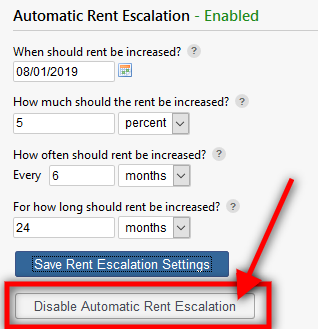 disable Automatic Rent Escalation button
