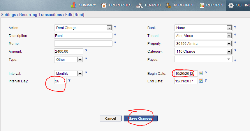 edit recurring transactions for tenant