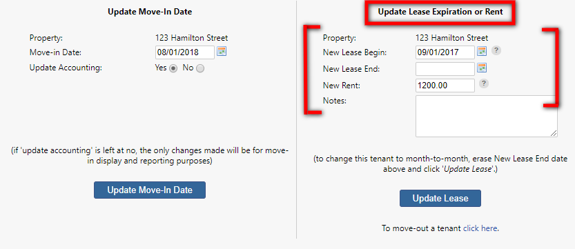 update lease expiration or rent