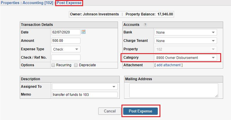 Transfer funds between properties by posting expense
