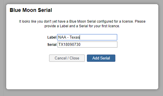 Blue moon serial number and label