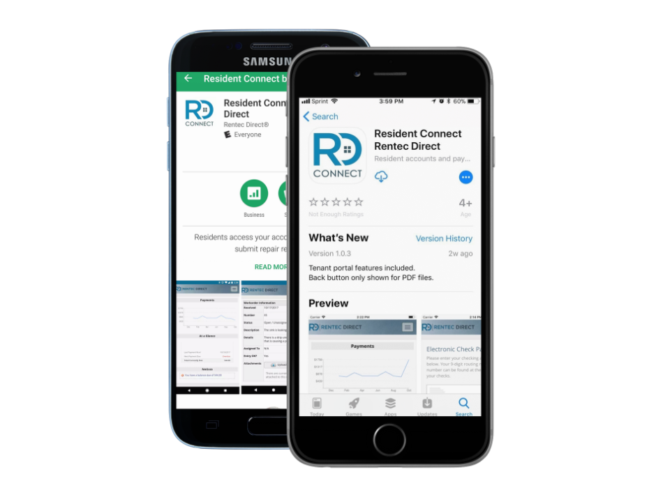 Resident Connect app on Samsung and iPhone