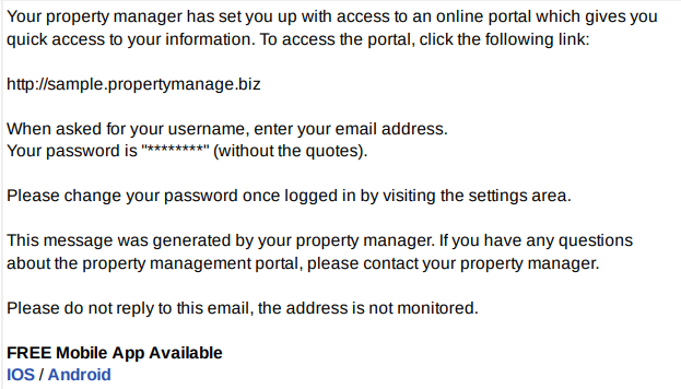 Sample tenant portal email password instructions