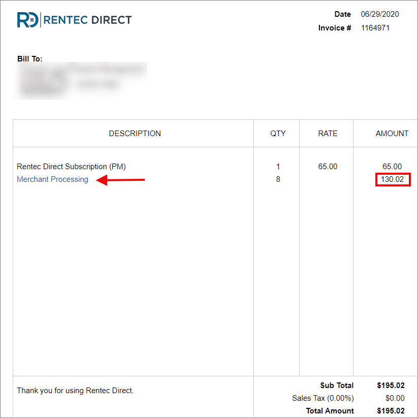 Monthly subscription invoice