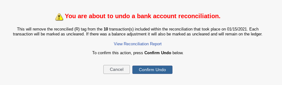 confirm undo reconciliation