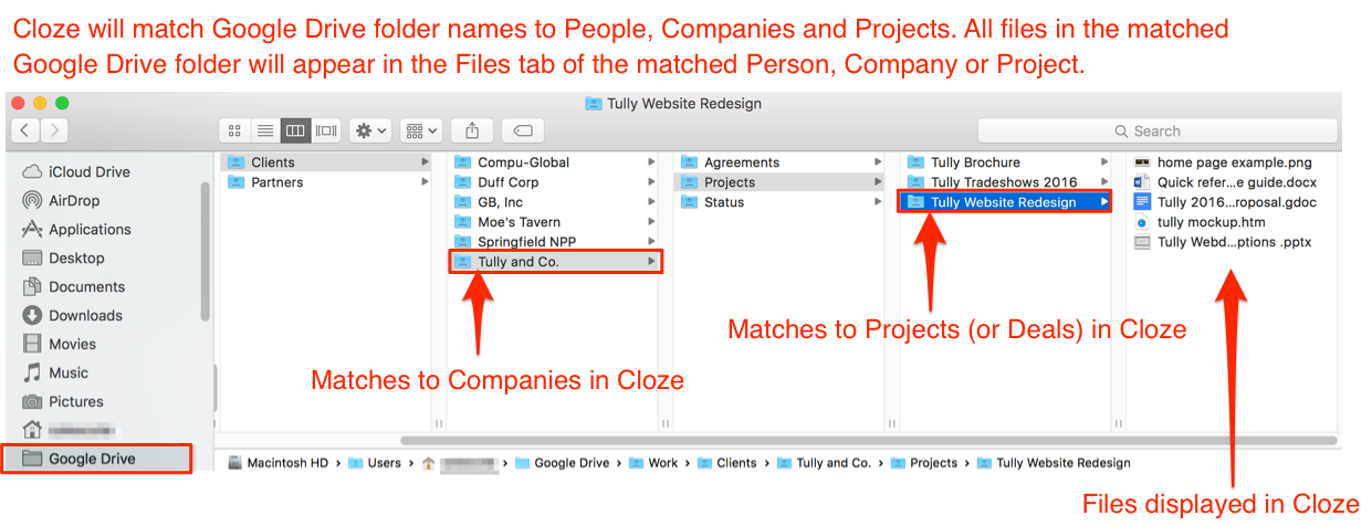 How Does Cloze Match A Google Drive Folder Or File To A Person Company Or Project Cloze Help Center