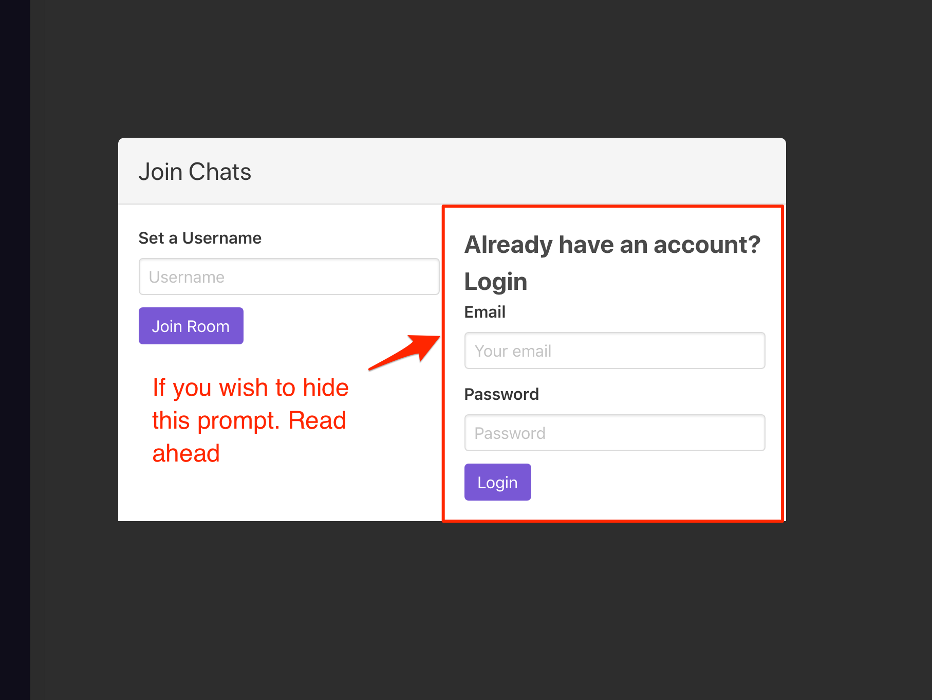 join chat prompt