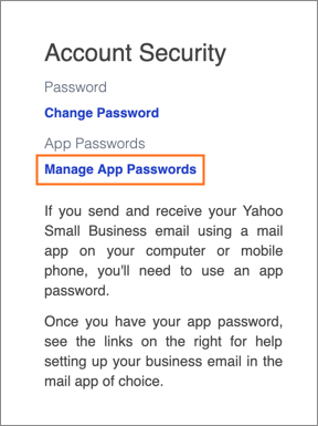 The Manage App Passwords link.