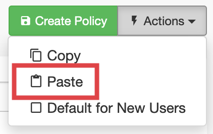 Paste copied Policy