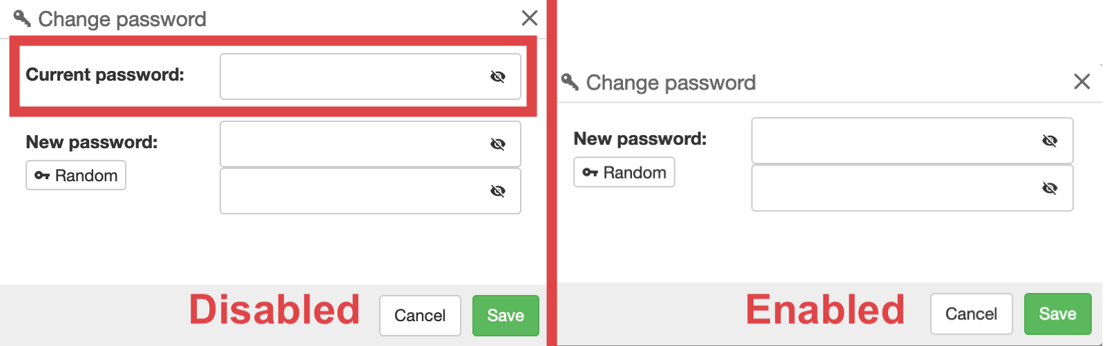 "Different displays for the ""Reset Password"" option"