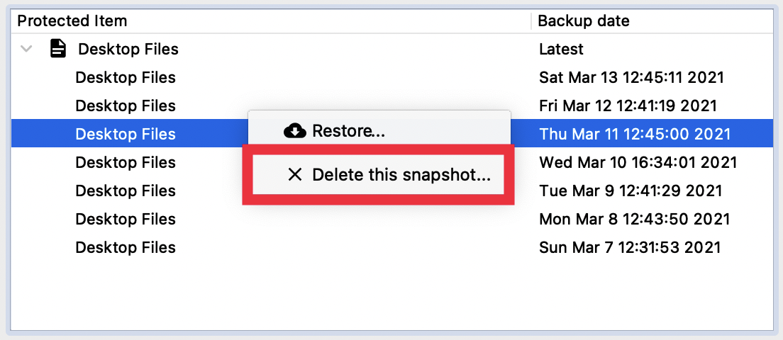 Delete backup snapshot button without the feature disabled