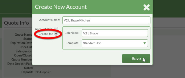 create job and account